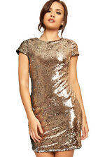 Womens Short Sleeve Zip Back Bodycon Ladies Sequin Sparkle Party Mini Dress