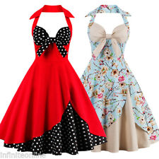 Halter Vintage Rockabilly Swing PINUP Party Evening 50s Womens Housewife Dress