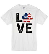 Love Dog Stars And Stripes USA America K9 Puppy Lover Cotton Unisex T-Shirt T Sh