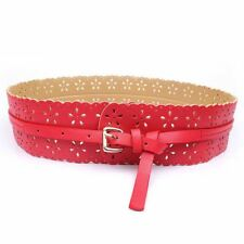 6 Color New Fashion Hollow Flower Decorated PU Leather Waist Belt For Women