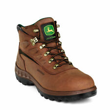 John Deere Mens Tan Waterproof Leather Round Toe Work Boots Boots