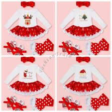 Baby Girls Kids My First Christmas Santa Romper Fancy Tutu Dress Outfit Clothes