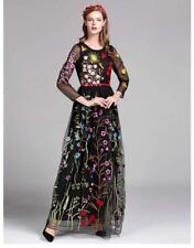 Women O Neck Long Sleeves Embroidery Floral Pattern Floor Length Dress