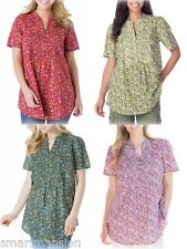 New Ladies Cotton Pintuck Floral Shirt Short Sleeve Tunic Blouse Plus Size 18-40