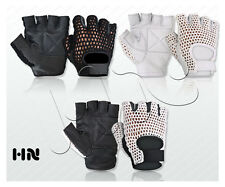 LEATHER FINGERLESS GLOVES COTTON MESH WEIGHT GYM TRAINING SPORTS WHEELCHAIR