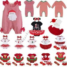 Baby Girl Kid My First Christmas Infant Santa Romper Jumpsuit Tutu Dress Outfits