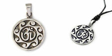 Lovely Hindu Om Ohm 92.5 Sterling Silver Pewter Charm Necklace Pendent Jewelry