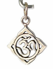 Trendy Hindu Word Om Ohm 92.5 Sterling Silver Pewter Necklace Pendent Jewelry