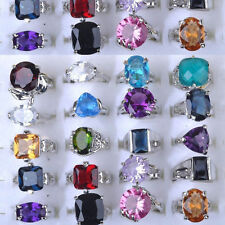 10/20Pcs Wholesale Jewelry Mixed Lots Silver Plated CZ Crystal Rhinestone Rings