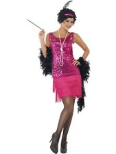 Ladies Charleston 1920s Hot Pink Flapper Costume Great Gatsby Fancy Dress Outfit