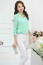 Women Spring Long-sleeved Solid Color Plus Size Fashion Casual Blouse