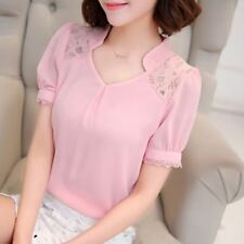 Women Summer New Lace Hollow Fashion Casual Short-sleeved Blouse