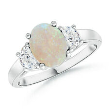 1.1ctw Three Stone Oval Opal Diamond Ring 14k White Gold Size 3-13