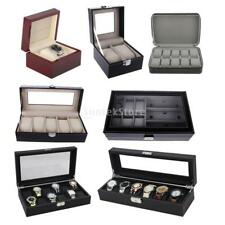 Luxury Wooden Watch Case Leather Watch Box Glass Top Travel 1/2/5/6/9/10/12 Slot