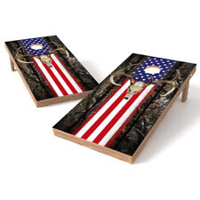 Flag Deer Camo Cornhole Baggo Bag Toss Board 3M Vinyl Wrap Set