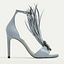 ZARA Blue High Heel Leather Sandals Gem & Feathers Detailing Authentic 2680/201
