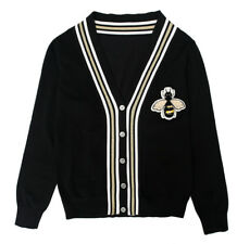 Womens Long Sleeve Cardigan Knitwear Jumper Bee Embroidery Sweater Pullover Tops