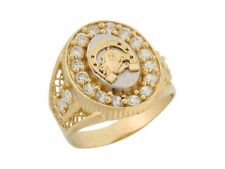 10k or 14k Two Tone Gold White CZ Lucky Horseshoe Mens Ring