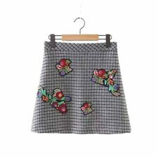 Women Vintage Plaid Embroidery Winter Thick Vintage Casual Mini Skirts