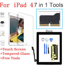 Touch Screen Digitizer+Home Button+IC+Tempered Glass Replacement For iPad 4 Gen