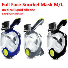 Full Face Mask Watersport Scuba Swimming Goggles Breath Pipe Tool w/GoPro Mount