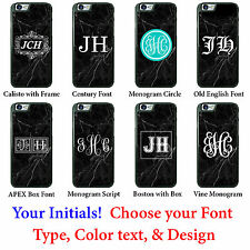 Black Marble Initials Monogram Personalized Custom phone case cover for iPhone