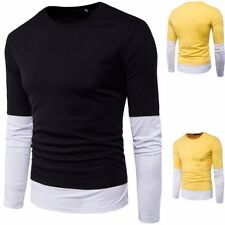 Men Casual Long Sleeve Shirt Casual Slim Fit T Shirt O Neck Blouse Two Color Top