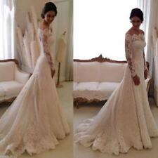 2018 New Lace Off the shouler Wedding Dress  A-line Lone Sleeves Bridal Gowns