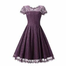 Women Light Purple Color O Neck Lace Summer Short Sleeve Skater Party Dress