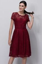 Women Red Color O Neck Lace Summer Short Sleeve Mid Calf Skater Party Dress