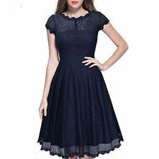 Women Blue Color O Neck Lace Summer Short Sleeve Mid Calf Skater Party Dress