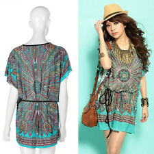 Women Ethnic Style Batwing-sleeve Round Neck Short Mini Dress with Belt Clever