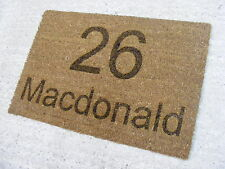 NEW HOUSE NUMBER NAME COIR FRONT DOOR WELCOME MAT BACK WARMING GIFT IDEA PRESENT