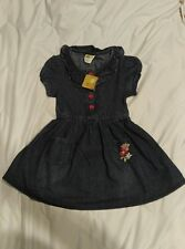 Girls Crazy 8 Jean Dress, size 5 Red button down with embroidered flowers NWT