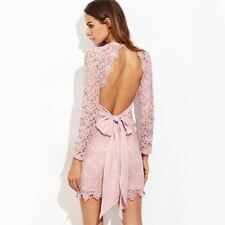 Women Lace Decorated Open Back Pink Color Long Sleeve Mini Bodycon Dress