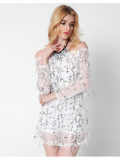 Women Dress Off-Shoulder Sequin Friange Long Sleeve Sexy Party Club Casual