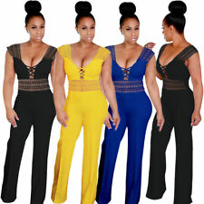 Women's Sexy Hollow Out Lace Up High Waist Wide Leg Jumpsuits Rompers Long Pants