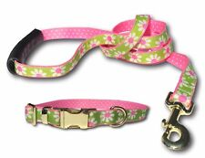 Preppy Green Daisy & Pink Polka Dot Double Sided Ribbon Dog Collar and/or Leash