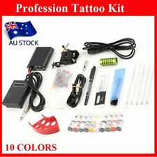 Complete Tattoo Kit Machine Gun Power Supply 10 Color Ink Set Needles OZ T5
