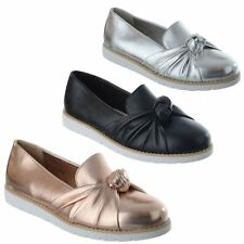 WOMENS LADIES FLAT LOW HEEL BOW KNOT OFFICE WORK CASUAL WEDGE LOAFERS SHOES SIZE