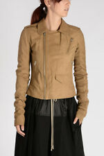 RICK OWENS New Woman CLASSIC STOOGES Leather Jacket Onyx Made in Italy NWT
