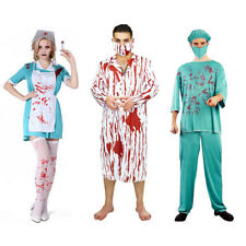 Bloody Zombie Doctor Nurse Costume Unisex Outfit Halloween Fancy Dress Couples