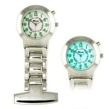 Personalised Engraved Chrome Nurse / Carers Fob Watch with Back light GREAT GIFT