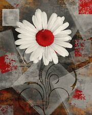 Rustic Modern Home Decor, Daisy Flower, Bathroom Bedroom Red Rustic Decor