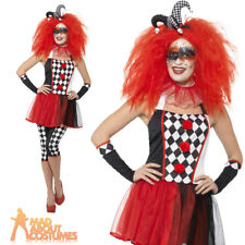 Adult Twister Harlequin Costume Jester Clown Halloween Ladies Fancy Dress Outfit