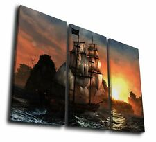 3Pc Pirate Ship Seascape Ocean Canvas Wall Art Painting Print Home Décor Gifts