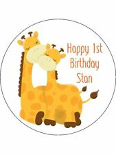 30-90 PRE-CUT EDIBLE WAFER CUP CAKE TOPPERS MUMMY & BABY GIRAFFE ANY TEXT