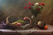 Still Life with Fruit and Roses by Ustina Green Art Print