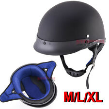 Matte Black DOT Motorcycle Open Face Flat Half Helmet For Harley Cruiser Chopper
