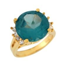 10k or 14k Yellow Gold Simulated Blue Zircon White CZ Simple Band Ladies Ring